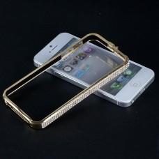 Металлический золотой бампер со стразами для iPhone 5 - 5s