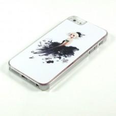 Чехол накладка Мода - девушка в черном - со стразами для iPhone 5 - 5s