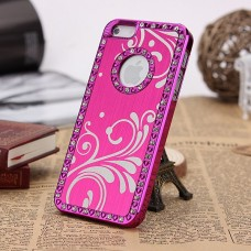 Розовый чехол - накладка алюминий со стразами для iPhone 5 - 5s
