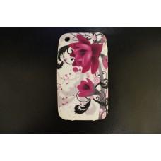 Чехол накладка с фиолетовыми цветами для iPhone 3 - 3gs