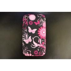 Черный чехол накладка с бабочками для iPhone 3 - 3gs