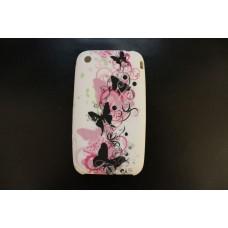 Белый чехол накладка с бабочками для iPhone 3 - 3gs