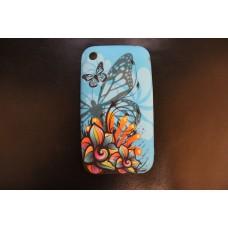 Голубой чехол накладка с бабочками для iPhone 3 - 3gs