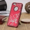 Красный чехол - накладка алюминий со стразами для iPhone 5 - 5s
