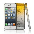 Желтый чехол накладка Капельки для iPhone 5 - 5s