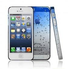 Голубой чехол накладка Капельки для iPhone 5 - 5s