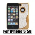 Золотой чехол накладка в белом цвете для iPhone 5 - 5s
