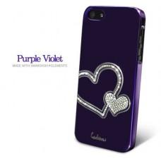 Фиолетовый чехол-накладка Love Swarovski Diamond для iPhone 5 - 5s со стразами Swarovski