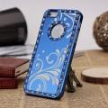 Голубой чехол - накладка алюминий со стразами для iPhone 5 - 5s