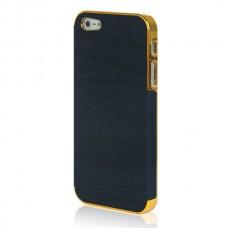 Золотой чехол накладка Gold с фиолетовым для iPhone 5 - 5s